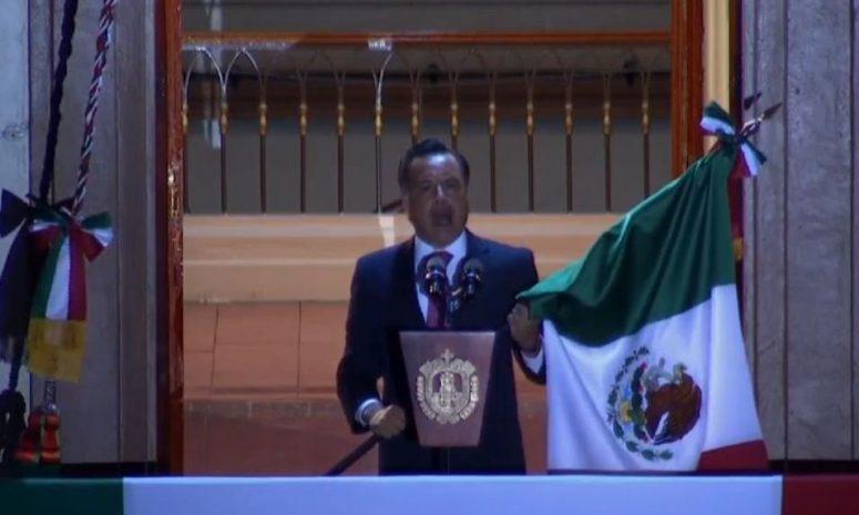 Grita Cuitláhuac García tradicionales vivas en Palacio de Gobierno
